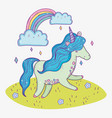 cute unicorn animal and rainbow with clouds vector image vector image