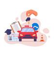 driving school advertising logo or emblem template