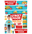 fast food and street food snacks menu vector image vector image