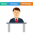 Flat design icon of Businessman avatar on a table vector image vector image