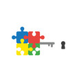 flat design style concept of puzzle key and vector image vector image