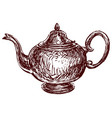 freehand drawing old metal tea pot vector image
