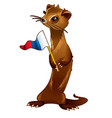 fur forest animal holding a flag in the paws in vector image