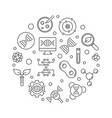 genetics icons in circle shape linear vector image vector image