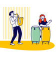 girl drummer and boy saxophone player playing vector image vector image