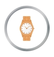 Golden watch icon in cartoon style isolated on vector image vector image