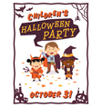 Halloween background with kids vector image