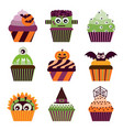 halloween cupcakes scary sweets set vector image vector image