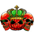halloween red skull with pupmkids isolation vector image vector image