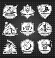 hand drawn basketball emblems set vector image vector image