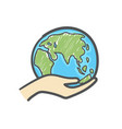 hand holding globe hand drawn doodle icon vector image vector image
