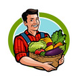 happy farmer holding wicker basket full of fresh vector image vector image