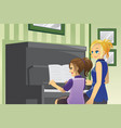 kid having piano lesson vector image