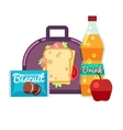 Kids lunch box bag with snacks meal and vector image vector image