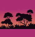 landscape of jungle with big tree silhouette vector image