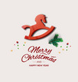 minimalist style christmas greeting card with red vector image