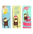 Monkey Fun Cards with Birthday Lettering vector image vector image
