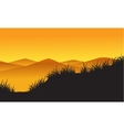 Mountain landscape on orange background vector image vector image