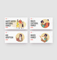 multiracial happy family landing page template set vector image