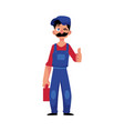 plumber man winking thumbs up vector image vector image