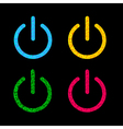 Power button icon set Black background Polygonal vector image
