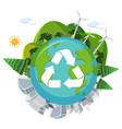 recycle globe on white background vector image