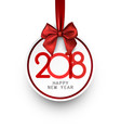 round 2018 new year card vector image vector image