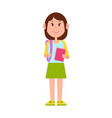 schoolgirl stands with backpack and pink notebook vector image vector image
