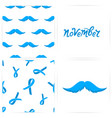 seamless pattern with mustaches blue ribbons the vector image