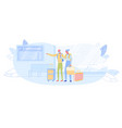 senior couple in airport wait boarding on airplane vector image vector image