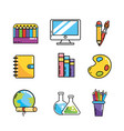 set back school creative utensils vector image vector image