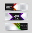 set horizontal black web banners with place vector image vector image