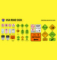 set of usa road sign vector image vector image