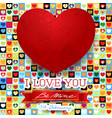 valentine card with stunning red heart vector image vector image