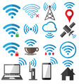 wifi flat sign icon set on white background vector image vector image