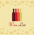 wine list vintage poster with grape leaves vector image vector image