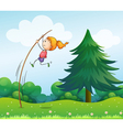 A girl playing with the stick at the hills vector image vector image