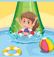 a happy girl at water slide vector image vector image