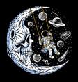 astronaut playing swing on skull moon vector image vector image