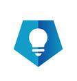 blue pentagon light bulb icon or logo vector image