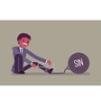 Businessman chained with a metall weight Sin vector image vector image