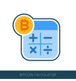 calculator with bitcoin sign icon vector image vector image