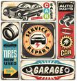 car service and repair retro signs set vector image vector image