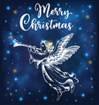 christmas angel blows into the trumpet vector image vector image
