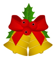 Christmas bells with red bow and holly vector image vector image