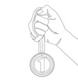 continuous line hand holding medal best vector image