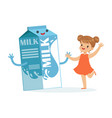 cute happy little girl and funny milk carton box vector image vector image
