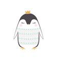 cute penguin in crown vector image