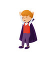 cute smiling red hair boy in vampire costume vector image vector image