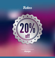discount silver badge twenty percent offer vector image vector image